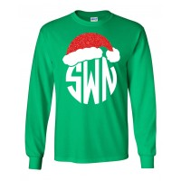 Santa Hat Monogram Long Sleeve T-Shirt